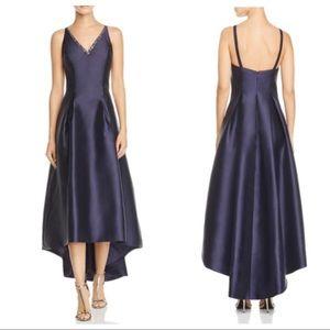 Carmen Marc Valvo Mikado Sleeveless Hi-Low Dress